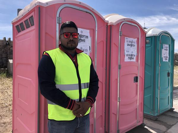 Victor Santana mans a row of port-a-potties near the Bridge of the Americas separating Juárez from El Paso. Disruptions at the border have caused long wait times at the border. Ciudad Juárez is offering free bathrooms for travelers stuck in those long lines.