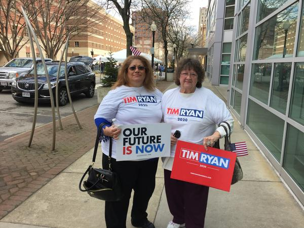 Joan Murphy (left) and Mary Cummins said they find Congressman Tim Ryan to be a lot like President John F. Kennedy. After his speech on Saturday, Ryan told reporters he admired Kennedy for his vision for America.