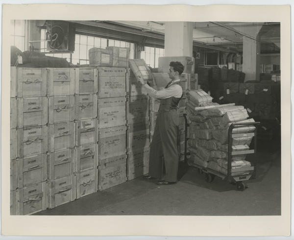 "1940 Census publicity photo. Original caption: ""Some of the 29,000 boxes used to ship questionnaires for the 1940 Census."""