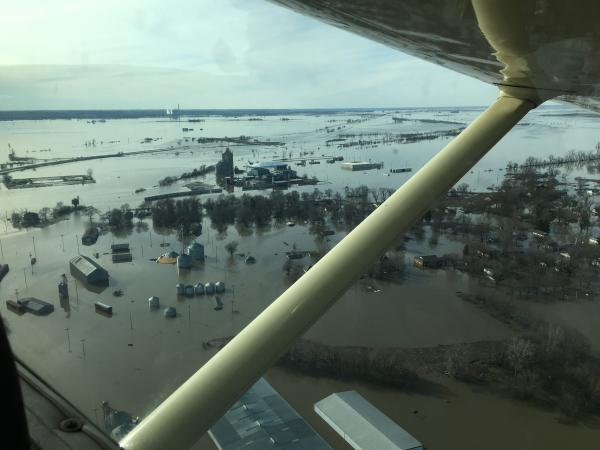 An aerial view of Hamburg, Iowa, on March 22. Mass flooding along the Missouri River forced evacuations, closed Interstate 29 and racked up losses in the billions.