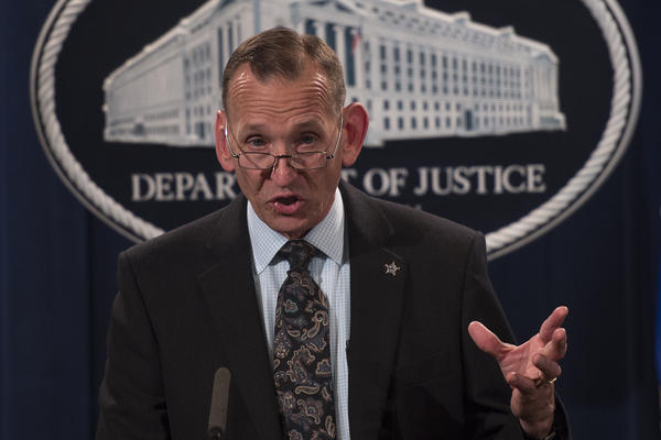 Director of the US Secret Service Randolph Alles speaks at the Justice Department last year. President Trump announced on Monday that Alles will be replaced.