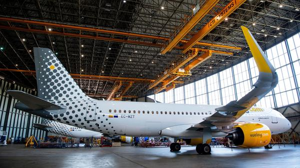 A new Airbus A320neo aircraft is presented by the Spanish airline Vueling at Barcelona's airport on Sept. 27, 2018. The Trump administration is preparing to slap tariffs on imports from Europe, citing subsidies of Airbus jets.