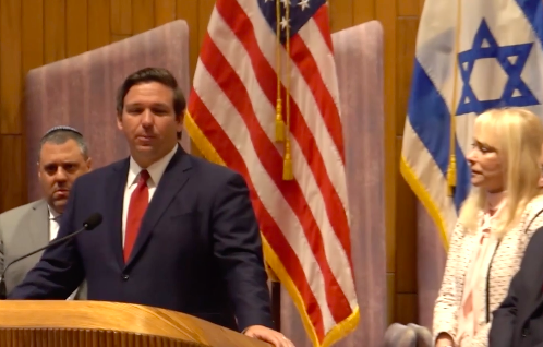 Florida Governor Ron DeSantis speaks to Jewish supporters of his pro-Israel policies at the Kol Ami Emanu-El synagogue Tuesday.