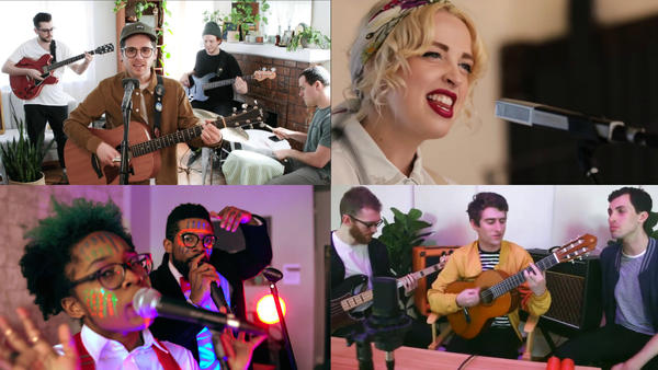 The Tiny Desk Contest entries we loved this week (clockwise from top left: La Fille; Elizabeth Moen;The Rare Occasions; Dxtr Spits & Nexus J.)
