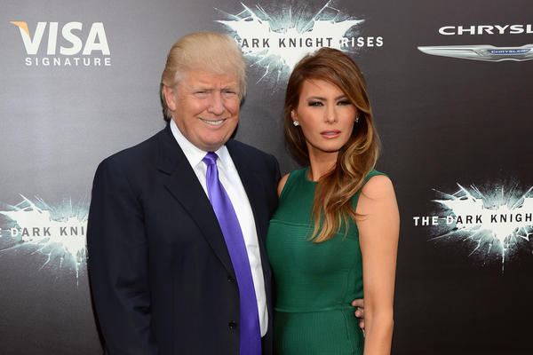 President Trump tweeted a video promoting his campaign that used music from the Batman movie <em>The Dark Knight Rises </em>without permission. Trump and first lady Melania Trump are seen here at a premiere of the film in 2012.