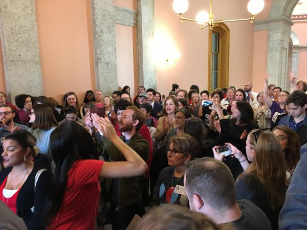 """Opponents of the """"Heartbeat Bill"""" chanted outside the Ohio House chamber before the vote."""