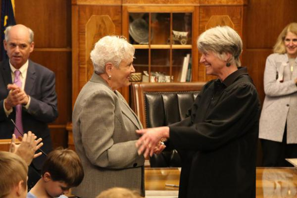 <p>Bev Clarno is sworn in as Oregon secretary of state by Oregon Supreme Court Chief Justice Martha L. Walters in the governor's ceremonial office at the Capitol in Salem, Ore., Wednesday, April 4, 2019.</p>