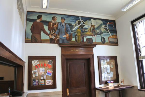 "The mural ""Air Mail"" by Daniel Rhodes is being honored with a postage stamp."