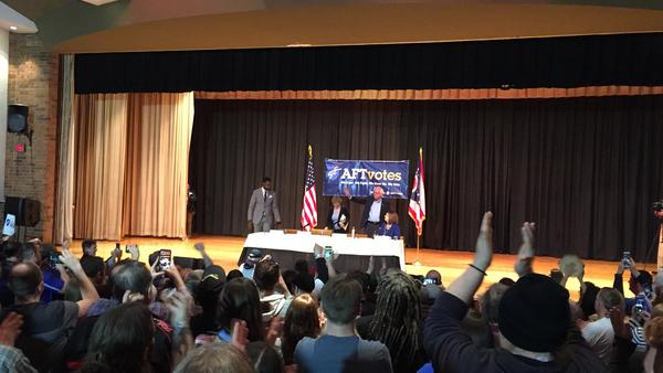 Vermont Sen. Bernie Sanders received a thunderous ovation from the crowd at Lordstown High School on Sunday.