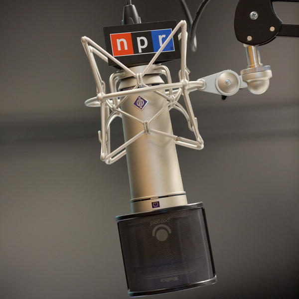 A microphone in a recording studio at NPR headquarters in Washington, D.C., on November 8, 2018. (photo by Allison Shelley for NPR)
