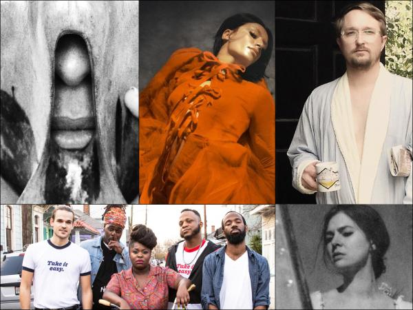Top row, left to right: Cover art for Jesca Hoop's <em>Stonechild, </em>Sevdaliza, Chris Staples; Bottom row, left to right: Tank and the Bangas, Vera Sola