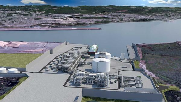 An artists rendering of the Jordan Cove Processing Facility and Marine Slip in Coos Bay, viewed from the north