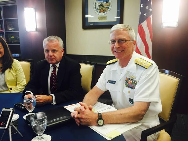 U.S. Deputy Secretary of State John Sullivan (left) and Southcom commander Admiral Craig Faller after their conference with Caribbean ministers in Doral last Friday.