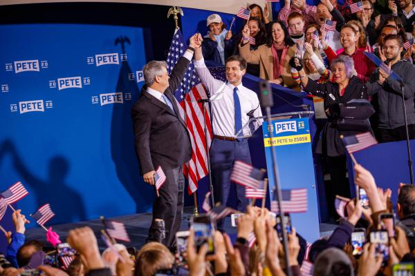 Austin Mayor Steve Adler introduces South Bend, Ind., Mayor Pete Buttigieg during the kickoff of his presidential campaign Sunday.