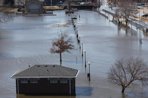 Davenport's LeClaire Park is a natural area where the Mississippi River is allowed to flood.