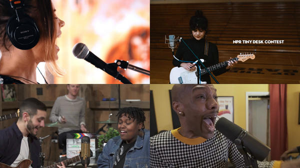 Some of our favorite Tiny Desk Contest entries this week. Clockwise from top left: Angela Sheik; Isabeau Waia'u Walker; Nik Alexander; Oh He Dead.