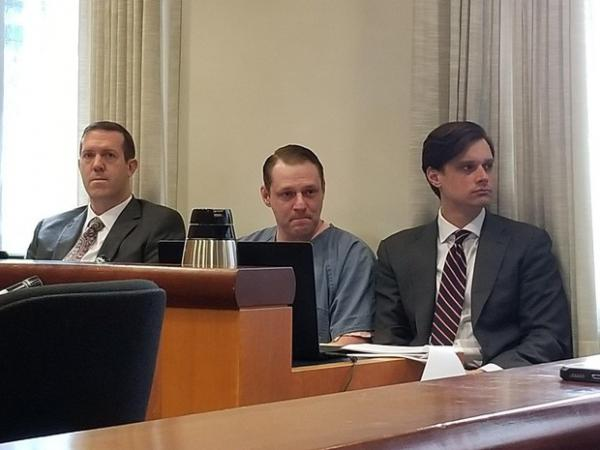 <p>Russell Courtier awaits sentencing on April 16, 2019, at the Multnomah County Courthouse in Portland, Ore., for the 2016 murder of Larnell Bruce Jr.</p>