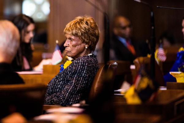 <p>State Sen. Jackie Winters, R-Salem, in the Oregon Senate on Monday, Jan. 14, 2019, in Salem, Ore. Winters championed a bill to offer leniency to juvenile offenders.</p>