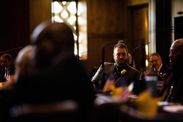 <p>State Sen. Dallas Heard, R-Roseburg, on the Senate floor Monday, Jan. 14, 2019. Heard cast the deciding vote on a slate of bills to grant more leniency to juvenile offenders.</p>