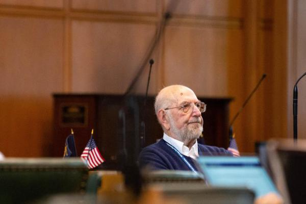 <p>Rep. Mitch Greenlick, D-Portland, sits on the House floor at the Capitol in Salem, Ore., Thursday, April 11, 2019.</p>