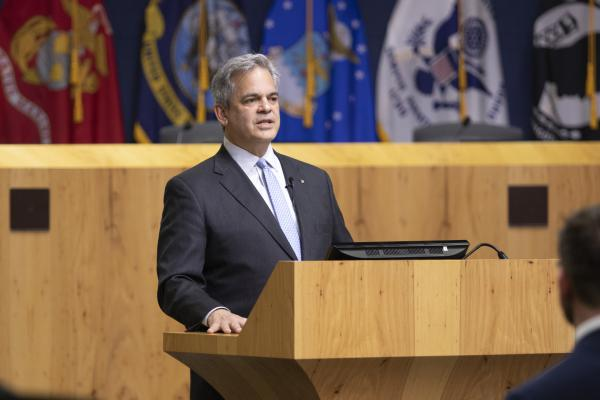 Austin Mayor Steve Adler delivers the annual State of the City address at City Hall on Wednesday.