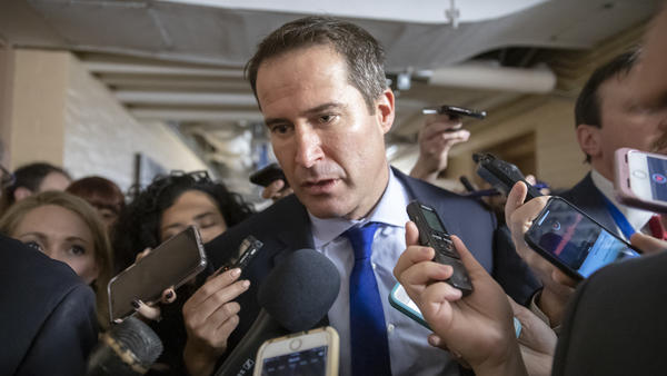 Rep. Seth Moulton, D-Mass., seen being questioned by reporters on Capitol Hill last year, is joining the large field of Democratic presidential candidates.