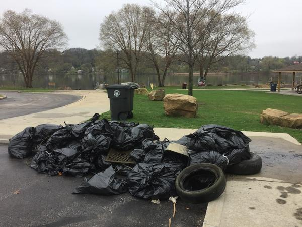 Although some large trash items were still found in and around Summit Lake during Saturday's cleanup, the executive director of Keep Akron Beautiful, Jacqui Ricchiuti, says dumping at the site has been declining for the past decade.