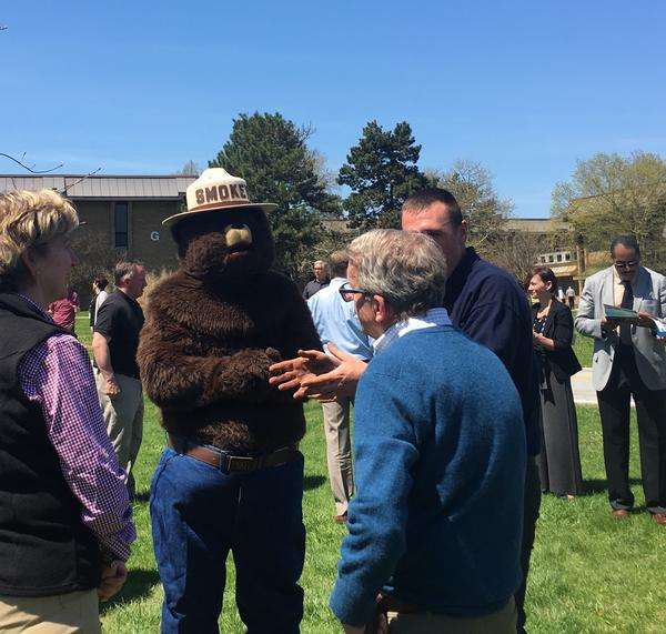 Ohio Gov. Mike DeWine Talks To Smokey Bear And Others At Earth Day 2019 Event In Columbus