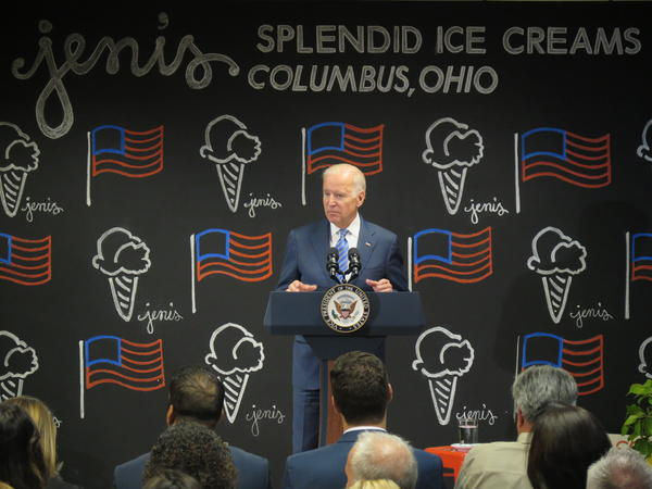 Former Vice President Joe Biden during a stop in Columbus at Jeni's Splendid Ice Cream to discuss the new overtime rules for workers. Biden is the latest Democrat to enter the 2020 presidential race.