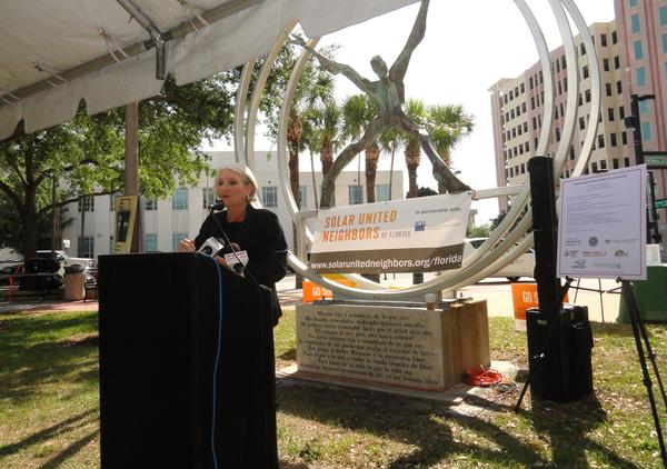 County Commissioner Pat Kemp speaks at the kickoff event at Joe Chillura Park