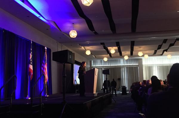 California Sen. Kamala Harris spoke at the Cuyahoga County Democrats' annual dinner, outlining her platform in her run for the 2020 Democratic nomination.