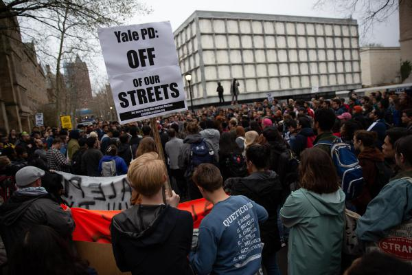 Hundreds gathered to protest on Thursday, April 18 outside Woodbridge Hall on the campus of Yale University. Many protesters wanted the two police officers involved with the shooting to be fired.