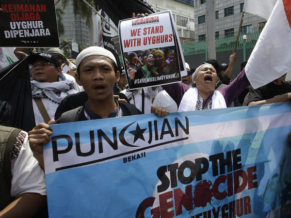 Outside the Chinese Embassy in Jakarta, Indonesian protesters in 2018 demand an end to China's mass detention of Uighur Muslims. On Monday, the United States Commission on International Religious Freedom released its 20th annual report.