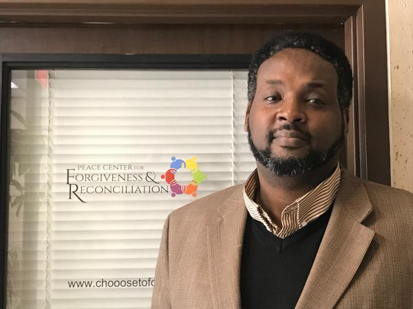Kazito Kalima is the founder of the Peace Center for Forgiveness & Reconciliation in Indianapolis. He came to Indiana on a basketball scholarship after his family was killed during the Rwandan genocide in 1994.