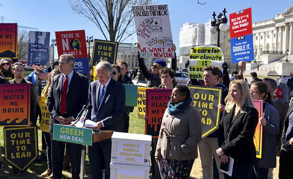 Sen. Edward Markey, D- Mass., speaks at a rally for the Green New Deal on Tuesday outside the Capitol in Washington. The deal failed to advance in the Senate.
