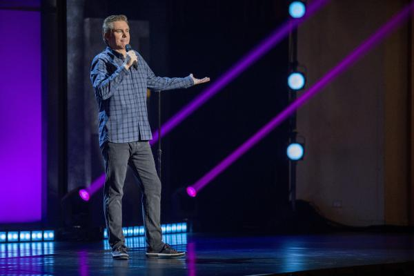 The comedian Brian Regan, pictured here in his Netflix special <em>Nunchucks and Flamethrowers</em>, has earned a reputation as a comic's comic.