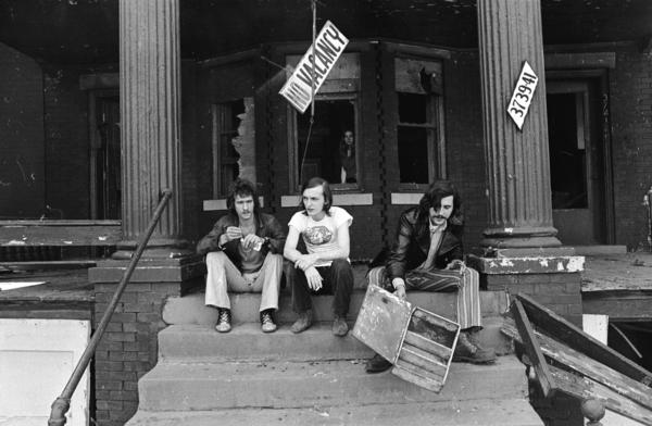 Left to right: CREEM Magazine founder Barry Kramer, editor Dave Marsh, and editor Lester Bangs. This photo was taken circa 1969 near CREEM's offices on Cass Avenue in Detroit.