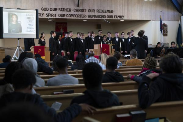 The Camas High School Mens Choir performs Seven Last Words for students from Roosevelt and Jefferson High Schools on April 26, 2019, at the Bethel AME Church in North Portland, Oregon.