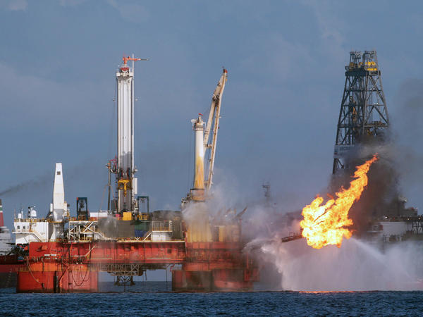 The area of the Deepwater Horizon oil rig is seen here in July 2010, shortly before the Macondo well was capped after spilling oil for 87 days. The Trump administration has proposed revisions to Obama-era rules that aimed to prevent similar disasters.