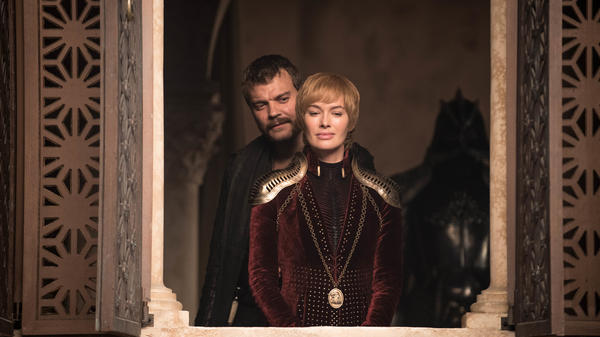 Boy, Mike Brady really let himself go, hunh? Schemin' seaman Euron (Pilou Asbaek) and cunning Queen Cersei (Lena Headey) look awful pleased with themselves on <em>Game of Thrones.</em>