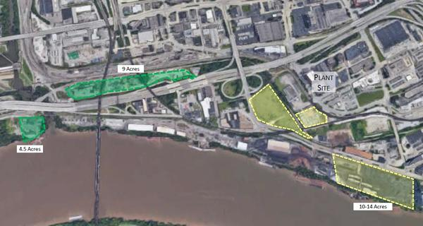 Hilltop Basic Resources is proposing a land swap with the city of Cincinnati to relocate its facilities, now located next to Paul Brown Stadium. Areas in green would go to the city and the 10-to-14 acres in yellow would go to Hilltop.
