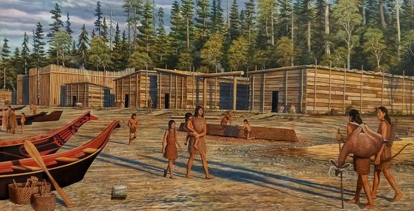 A mural in Port Angeles shows Klallam plank houses, as they might have looked after being rebuilt following a long-ago tsunami.