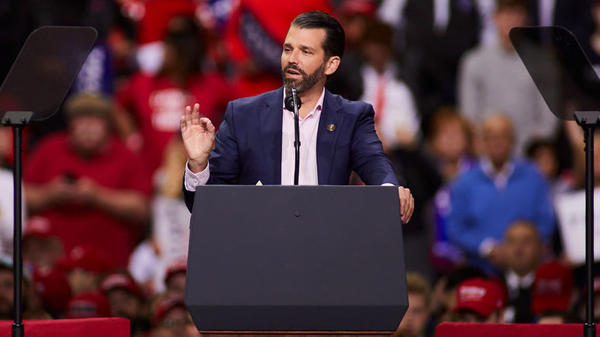 Donald Trump Jr. greets supporters of President Trump before he speaks at a Make America Great Again rally last month in Green Bay, Wis. The Senate intelligence committee has issued a subpoena for him to testify.