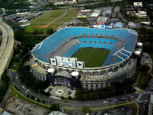 Bank of America Stadium in uptown Charlotte.