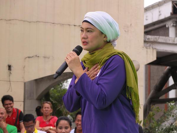 Philippine senatorial candidate Samira Gutoc speaks at a campaign event in Caloocan, Philippines.