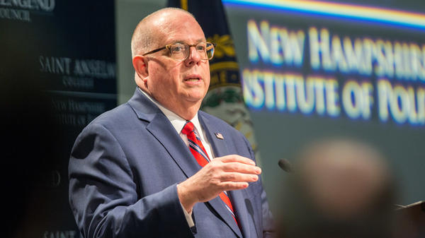 Maryland Gov. Larry Hogan speaks at the New Hampshire Institute of Politics on April 23. The centrist Republican has criticized President Trump and holds open the possibility of challenging him for the GOP nomination in 2020.