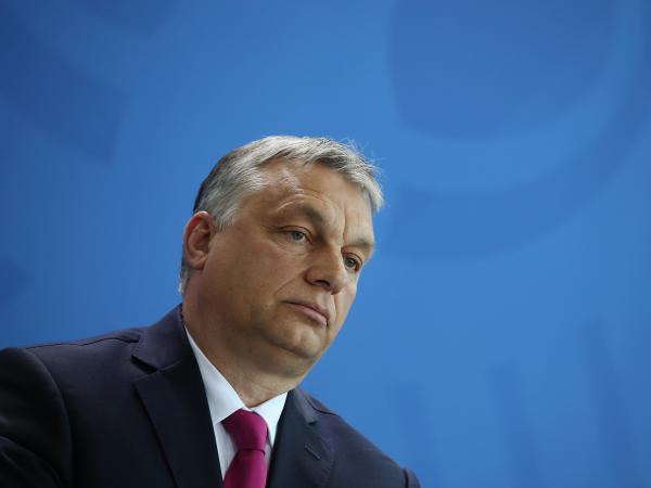 Hungarian Prime Minister Viktor Orban speaks to the media in Berlin on July 5, 2018.