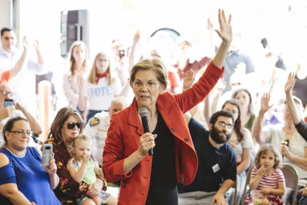 Elizabeth Warren speaks at a campaign stop at the Kermit, W.Va., fire department on May 10. Kermit has a population of about 400 and is believed to have been visited by only one other presidential candidate, John F. Kennedy. Warren went on to campaign in the rural southern Ohio town of Chillicothe, before ending the day in Columbus.