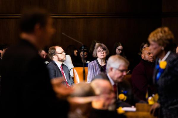 <p>Senate Majority Leader Ginny Burdick, D-Portland, listens to arguments on the floor of the Oregon Senate on Monday, Jan. 14, 2019.</p>