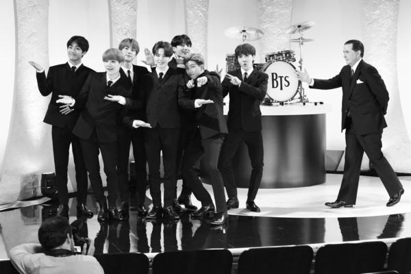 BTS, with Stephen Colbert as Ed Sullivan.